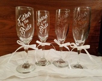 Etched Parents of bride and groom champagne flutes