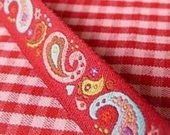 FALL Ribbon paisley farbenmix red 12 mm 45 cm