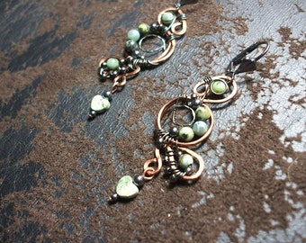 African Turquoise Copper and Gunmetal Wire Wrap Lever Back Earrings with Heart Drop