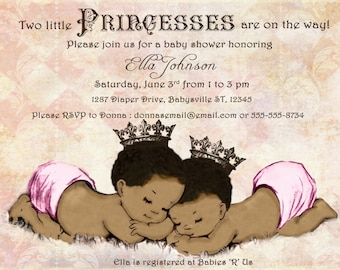 African American Twins Baby Shower Invitation For Twin Girls - Vintage - Princess - Crown - Pink - DIY Printable