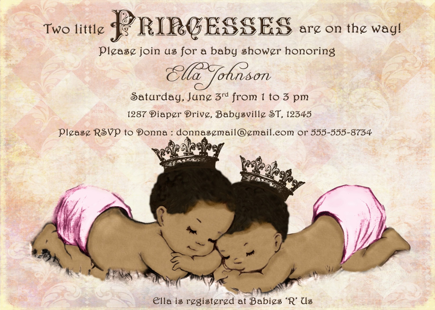 African American Twins Baby Shower Invitation For Twin Girls