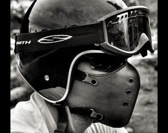 CLASSIC DARK BROWN now. biker mask/motorcycle mask/ leather mask/cafe racer mask/bobber mask/bratstyle mask/leather mask/vintage mask/Boken.