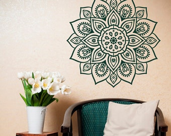 Removable Wall Decal Mandala   Vinyl Mandala Wall Decal  Mandala Wall Art  Yoga Studio Bohemian