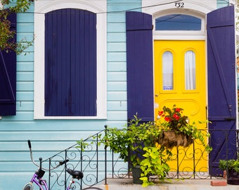New Orleans Blue House Yellow Door Purple Bike Greeting Cards