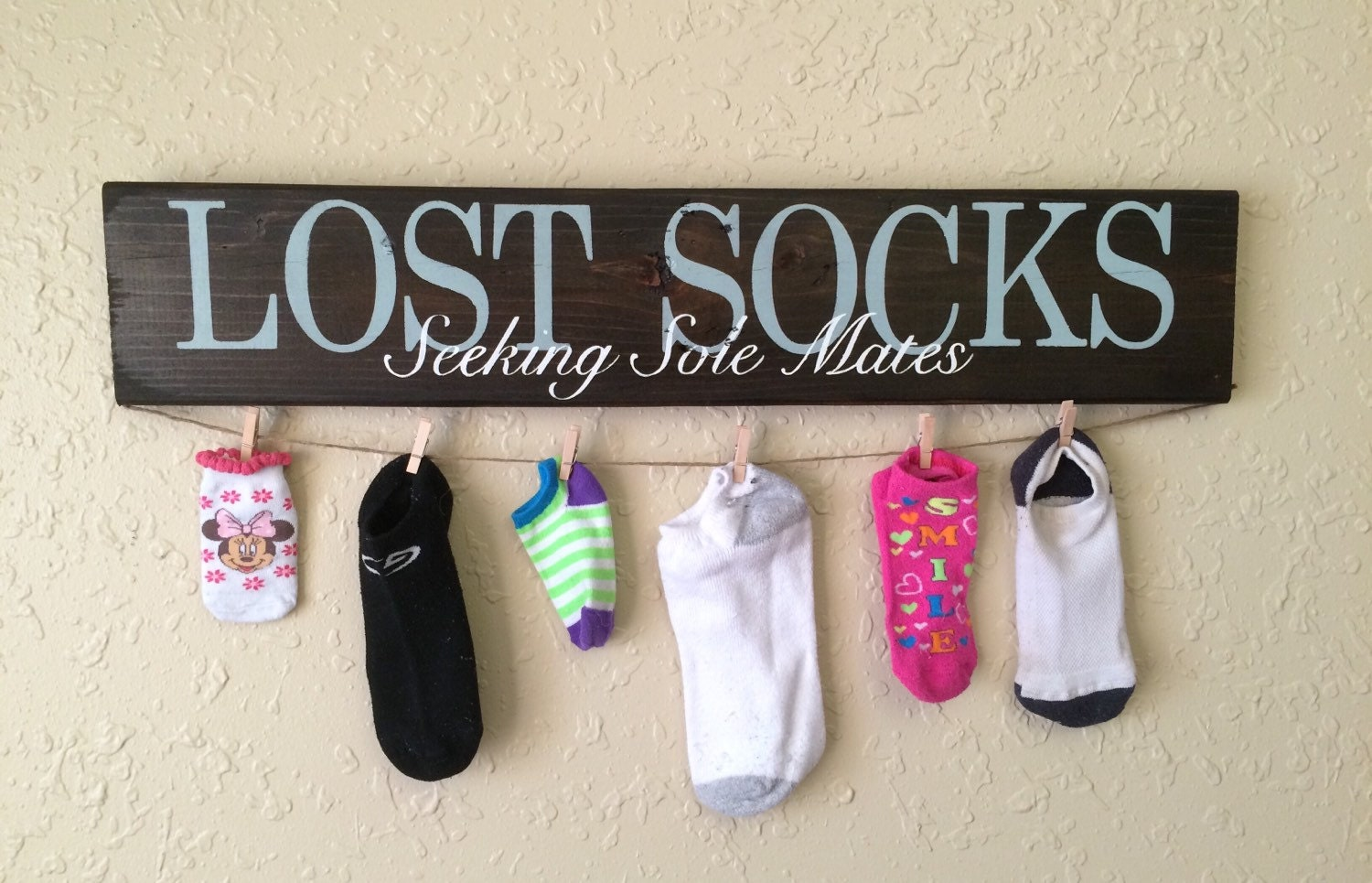 Laundry Room Sock Sign Christmas Gift Lost Socks Seeking Sole Mate Hand Painted
