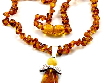 NATURAL BALTIC AMBER Baby Teething Necklace with Baltic Amber Angel Pendant