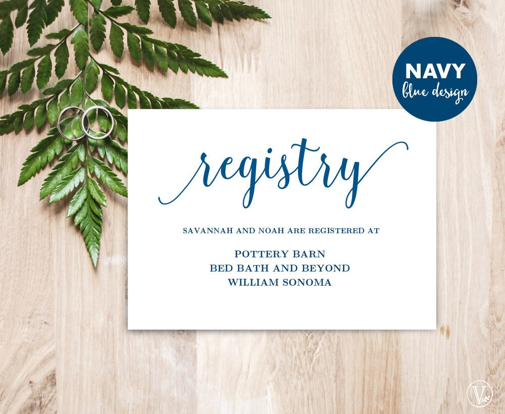 Wedding Gift Card Registry: Navy Blue Gift Registery Card Template Printable Wedding