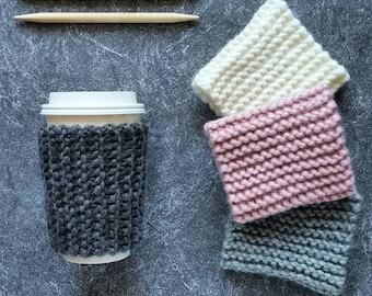 Knit Coffee Cozy Pattern Knitting Pattern Knit Coffee Sleeve Pattern Knit Coffee Cup Cozy Knit Coffee Cup Sleeves Beginner Knitting Patterns