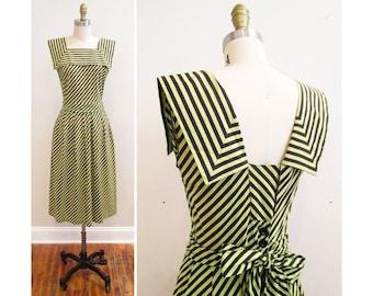 Vintage 1940s Dress | Light Green and Black Chevron Striped 1940s Sundress | xs - small