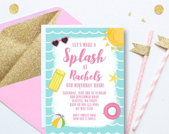 Summer Pool Party Invitation, Let's Make A Splash Invite, Pool Party Invite, Girl Pool Invitation