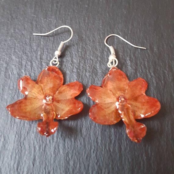real orchid Rhynchocentrum flower earrings in red