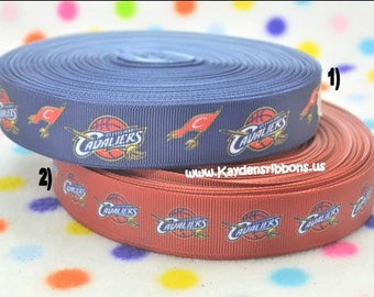 3 yards Cleveland Cavaliers - 7/8 inch  - CHOOSE DESIGN - Printed Grosgrain Ribbon