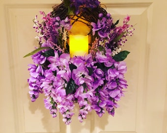Purple Wisteria Grapevine Wreath with Flameless Candle
