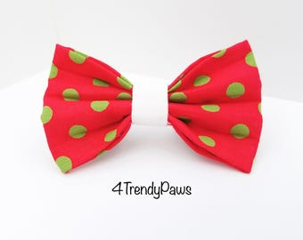 Green Dots on Red Bow, Christmas Bow, Dog Bow, Bowtie, Holiday Bow, Big Dog Bow, Small Dog Bow, Girl Dog Bow, Boy Dog Bowtie, Bow Tie