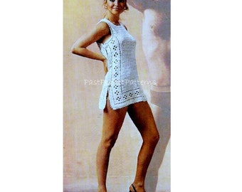 INSTANT DOWNLOAD PDF Vintage Crochet Pattern  Mini Tunic Dress Beach Cover Up   Retro