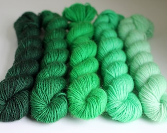 Green Gradient Mini Skein Set - BFL 4 Ply