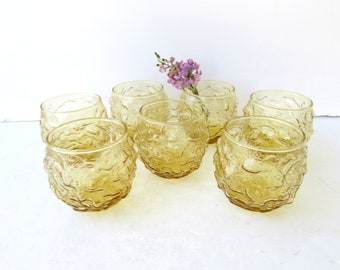 Mid Century Modern Barware - 7 Anchor Hocking Lido Gold Roly Poly Glasses - Golden Honey - Cocktail Glasses - Juice Glasses -