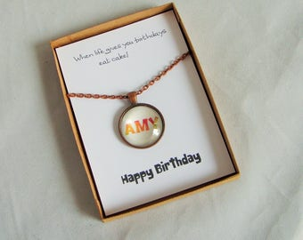 Personalized Necklace, Personalized Gift, Personalised Necklace, Pendant Necklace, Custom Jewelry, Birthday Gift, Birthday Card