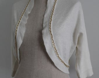 Cream 1950s Orlon Bolero Sweater with Gold