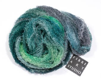Bebe>> Kid Mohair Boucle Loop Yarn |  DK | 50g 200yds | Kid Mohair Nylon | Green Gray Variegated Yarn | Knitting Crochet Weaving | Foghorn