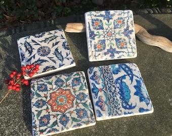 Iznik Turkish Tile Coasters- set of 4