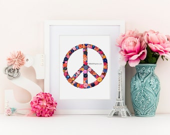 Peace Signs | 8x10 Button Art Peace Sign | Buttons & Swarovski Rhinestones | Wall Art | Peace Art | Button Peace Sign | Peace Love Happiness