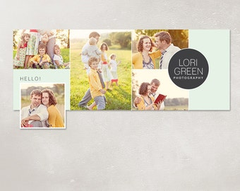 Facebook timeline cover template photo collage photos digital PSD FC028