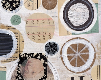 Greenwich 24 / ORIGINAL ART / mixed media collage / neutral / circles / vintage papers 6x6