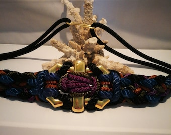 Free shipping domestic Macrame multicolor braided belt with large gold buckle Fish Hook closure