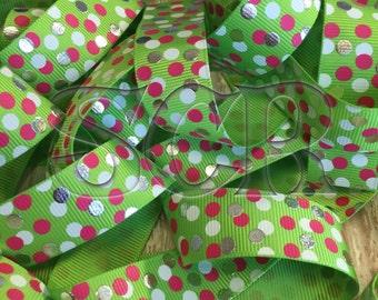 Green Grosgrain Ribbon, USDR Polka Dot Grosgrain Ribbon, 7/8 inch ribbon by the yard