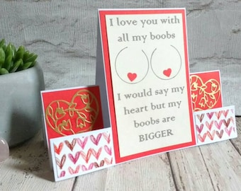 rude card - cheeky card - love - birthday card - anniversary - valentine's day - valentines card - romantic card - shaped card - funny card