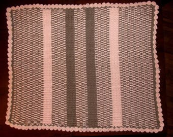 Pink and brown baby blanket