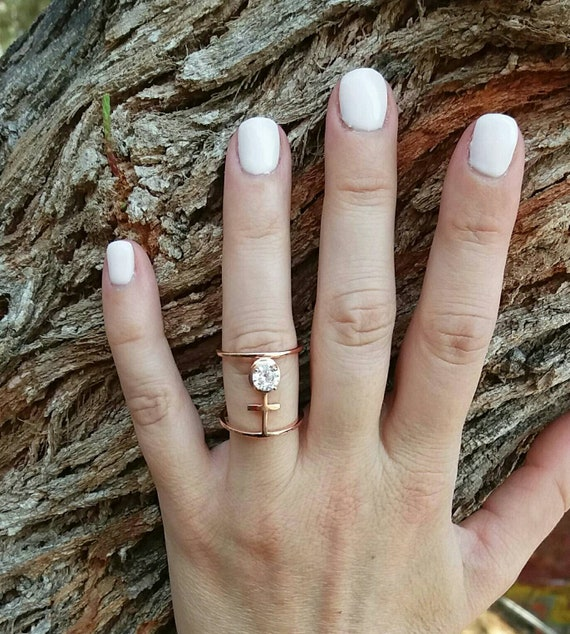 Rose Gold Ring, Cubic Zirconia, Everyday Ring, Dainty Ring, Layered, Birthday Gift