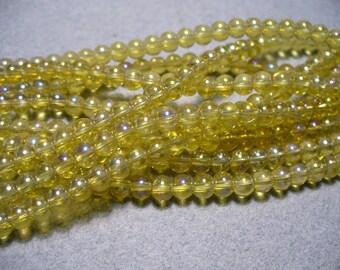 Glass Beads Yellow AB  Round 4MM