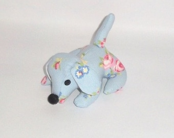 Doggy Desk Buddy, Blue Rose Bud Fabric, Paperweight, Office, Dog, Animal, Quirky, Handmade, Fabric, Desk mate