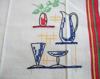 Dish Towel, Vintage Embroidered Towel, Mixed Drinks,Towel, Vintage Striped Towels, retro kitchen, vintage kitchen
