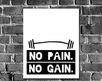 Fitness Motivational Poster Print No PAIN No GAIN- Gym printable, Workout Printable Encourage inspire Motivate Digital Print at Home