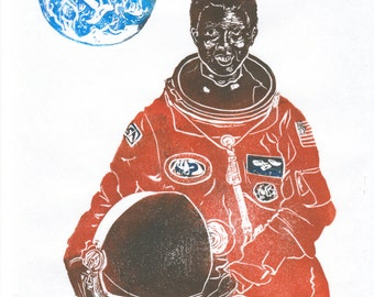 Astronaut Mae Jemison Linocut Portrait, Women in STEM, Lino Block Print Scientist Portrait, NASA and American Astronaut Mae Jemison, Earth