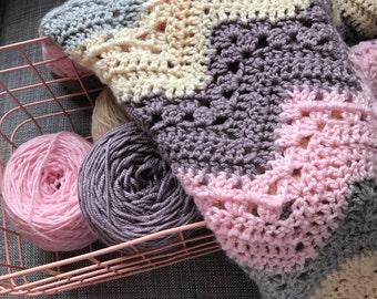 Baby Blanket Crochet, Crochet Baby Blanket, Crochet Chevron Blanket, Crochet Afghan Blanket,  Crochet Lap Blanket, Crochet Striped Blanket