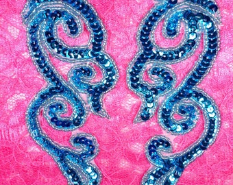 "JB233 Sequin Appliques MIRROR PAIR Turquoise Scroll Patch 7""  (JB233X-tr)"
