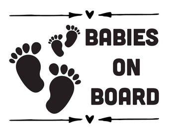 Babies On Board Vinyl Sticker   Car Decal