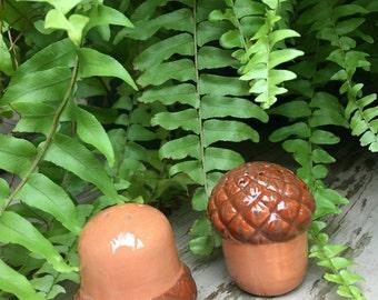 Acorn Salt & Pepper Shakers Brown Ceramic Fall Autumn Figural Kitchen Vintage Dining Decor - #A2013
