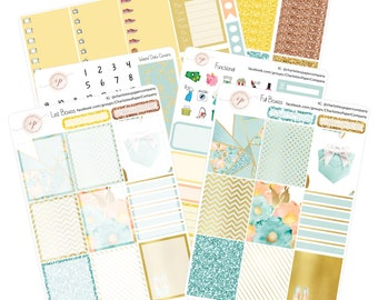 Planner Sticker Kits / Mint & Gold Planner Stickers / Planner Stickers / Erin Condren Planner Stickers / Weekly Sticker Kit / WK4