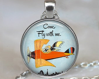 Come Fly with me necklace, Fly with me pendant, airplane necklace, romantic jewelry, romantic gift aviation key chain key ring key fob