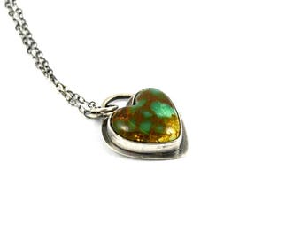 Turquoise Heart Pendant in Sterling Silver Setting and Chain