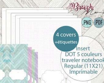 Inserts DOT, travelers notebook regular, printable, 5 models