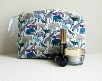 Liberty Fabric Makeup  Bag, Liberty of London, Queue for the Zoo, Cosmetic Bag, Liberty Tana Lawn, Makeup Pouch, Handmade Gift Idea,