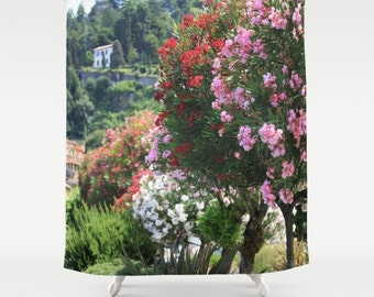 Italy Shower Curtain, Bellagio, Italy Decor, Pink Shower Curtain, Photo Shower Curtain, Italy Photography, Fabric Shower Curtain, Floral