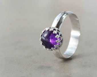Amethyst ring, Sterling Silver, crown setting, stacking, Birthstone jewelry