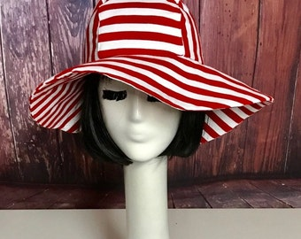 Red & White Striped Sun hat, Wide Brim Hat, Floppy Hat,Striped Sun Hat, Boho Hat, Travel Hat, Packable Hat